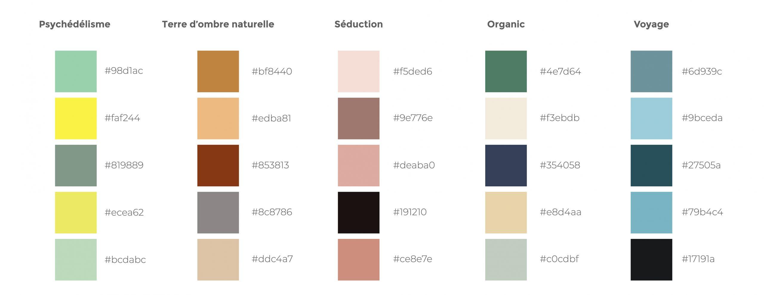 Palette de couleur - Tendance Design Web 2021